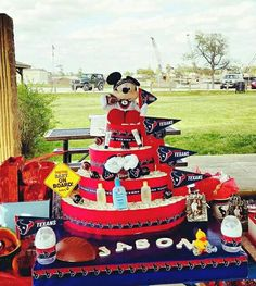 My Texans Theme Diaper Cake Finished