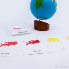 XGY6025 - Continent 3 Part Cards v2 Montessori Classroom, Classroom Activities, Kids House, Continents, Geography, Place Card Holders, Cards, Class Activities, Maps