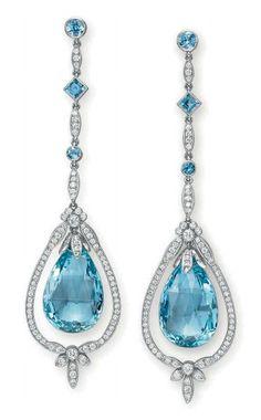 TIFFANY & CO | Aquamarine and diamond pendant earrings