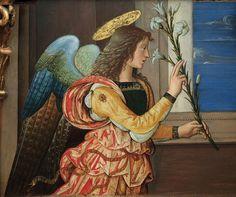 Pinturicchio (1452 ca.-1513) - Angelo annunciante, dettaglio Pala di Santa Maria dei fossi, dossale - 1496-1498 - Galleria nazionale dell'Umbria, Perugia