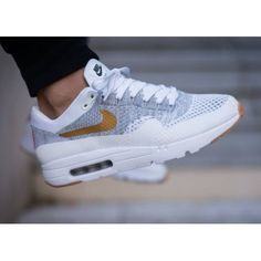 8528df11 Nike Air Max 1 Ultra Flyknit Gris Blanc Or Chaussures Magasin Skate Wear, Nike  Shoes