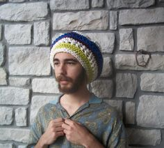 Rasta Tam Hat in bright colors  blue & green  by ReGrowRoots, $61.00