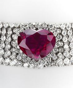 Courtesy of Garrard            Heart of the Kingdom Ruby        $14 million        This 40.63-carat, heart-shaped Burma ruby, mounted on a 155-carat diamond necklace, claims top spot in the British jeweler's collection. Got a débutante in your family? The diamond necklace can be transformed into a tiara. The stone is accompanied by two independent Swiss laboratory reports that verify its rarity.