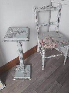 Upcycled and reupholstered vintage chair and pot stand Furniture, Upcycled Furniture, Chair, Vintage Chairs, Vintage