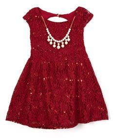 Look what I found on #zulily! Maya Fashion Burgundy Sparkle Dress & Necklace Set - Toddler & Girls by Maya Fashion #zulilyfinds