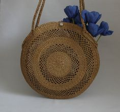 1970s Natural Woven Straw Bag Vintage Raffia by Themagicstories