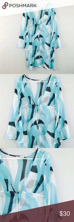 George Sheer Blue Slip Bell Sleeve Dress! Size large! George Dresses