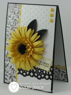 SU Card. Stamps: Tiny Tags, Vintage Labels (R). Cardstock/Papers: Basic Black, Whisper White, Daffodil Delight. KaiserCraft DSP Black and White Timeless. Ink: Stazon Black, Daffodil Delight. SU Dies: Sizzix Flowers Daisies #2, Adorning Accents Edgelits, PTI: Tags Die. EB Folder: Polka Dot, Square Lattice. Punches: Lace Ribbon, Blossom Petals Builder,  Boho Blossom. Sponge, Mat Pack/Piercing Tool, Pearls, Double Sided Tape, Dimensionals, 2-way glue pen.