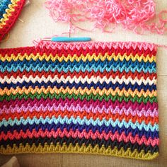 "Celebrating the #Crochet V Stitch - the ""how to"" ... this is Sucrette's beautiful colorful version"