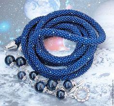 """Купить Лариат """"Ночь Каира"""" - темно-синий, синий, серебристый, жгут, колье, лариат, украшение"""