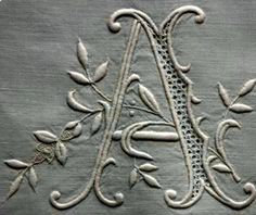 ⌖ Linen & Lace Luxuries ⌖ antique embroidery on linen, monogram A