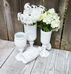 Brilliant White - Shabby Chic Country Upcycled Mason Jar Candle Holders, Vases, Centerpieces, Decor SET OF 4