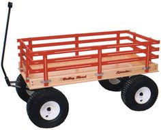 """VALLEY ROAD BEACH WAGON MODEL 6500- our most popular wagon! Features over-sized 13"""" diameter wheels, choice of 9-ply Birch wood or polymer resin bed. 24 """" x 48"""" bed size. 1,100 pound load capacity. Can be accessorized with canopy, cooler rack, hand brakes, high rack, and seats."""