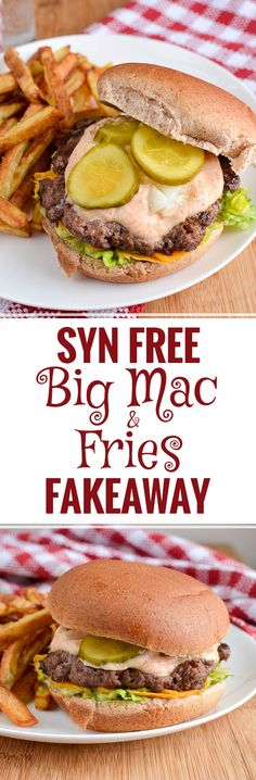 Slimming Eats Syn Free Big Mac and Fries Fakeaway - create you favourite fast food meal with this healthier Slimming World and Weight Watchers friendly version Slimming World Fakeaway, Slimming World Dinners, Slimming World Recipes Syn Free, Slimming World Diet, Slimming Eats, Big Mac, Healthy Snacks, Healthy Eating, Healthy Recipes