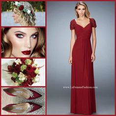 La Femme 21765 long prom dress - wine prom dress - homecoming dress - bridesmaids dress - formal dress - evening dress - net jersey gown - pleated bodice - short sleeves - lace embellished - rhinestone embellished - style inspiration - makeup inspiration - burgundy accessories - bouquet - burgundy heels