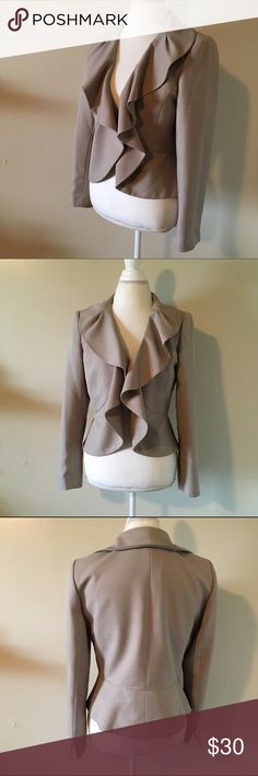 Petite ruffle crop blazer - 12 Ruffle crop blazer by alfani. Tag says size 12p also fits. Us 10 nicely. Sits at waist. Perfect to dress up or down. Alfani Jackets & Coats Blazers