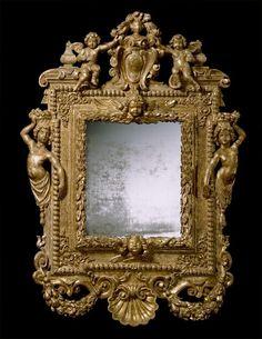 """A North European Queen Anne Period Gilt Wood Mirror Ca1705 Continental. 53.54""""H x 39.57""""W."""