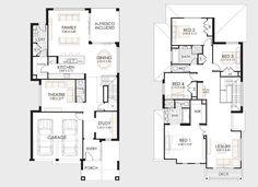 Plano de casa grande de dos niveles
