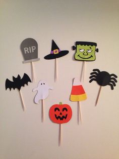 Halloween Cupcake Toppers - Set of 12 or 24 - Pumpkins, Bats, Tombstones RIP, Frankenstein, Witch's Hat, Candy Corn, Ghost, & Spider