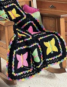 Dragonflies, Butterflies, and More! eBook - Each of these four crocheted afghans by Sandy Rideout has its own fun details that kids will love such as dimensional wings or a lacy pattern in the edging. There are black-and-yellow bumble bees buzzing on a red throw, sweet lady bugs marching on a white and green afghan, multicolored butterflies on a black throw with variegated borders and edging, and a dragonfly blanket that is lovely in shades of lavender and blue.