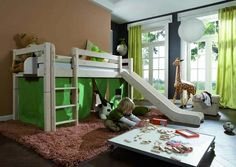 Picture Gallery Of Light Green Curtains And Drapes. Diffrent rooms and windows treatment with light green curtains. Green Curtains, Drapes Curtains, Bedroom Themes, Bedroom Decor, Bedrooms, House Decoration Items, Decorations, Modern Kids Bedroom, Jungle Room
