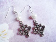Silver peacock earrings with freshwater pearls, nature jewelry, Selma Dreams, jewellery gifts for her by SelmaDreams on Etsy