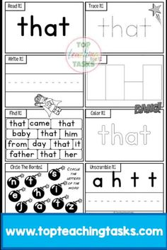 Kindergarten Sight Word Activity Worksheets Dolch. This resource includes the 52 Kindergarten (Primer) Dolch Sight Words in engaging printables to help your students gain sight word fluency! Use this as part of your Word Work Daily 5 activities, or as an addition to your writing program. A great bonus – NO PREP! Just PRINT and GO! Sight word recognition improves reading fluency, allowing the student to focus their efforts on the more mentally demanding task of reading comprehension…