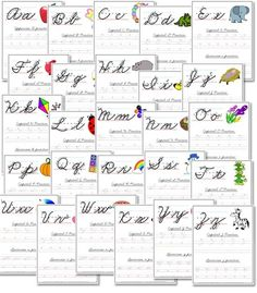 Free A-Z Cursive Handwriting Worksheets Free Homeschool Deals Handwriting Practice Sheets, Free Handwriting, Handwriting Analysis, Improve Handwriting, Practice Cursive, Teaching Writing, Teaching Resources, Sight Words, In Kindergarten