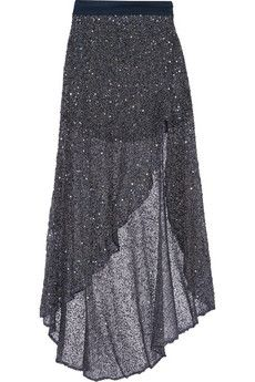 Haute Hippie Asymmetric embellished tulle maxi skirt | THE OUTNET