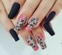 2019 Attractive Nail Art Designs Trending Now - Naija's Daily Perfect Nails, Gorgeous Nails, Pretty Nails, Rose Nails, Flower Nails, Hair And Nails, My Nails, Nailart, Nail Polish Art