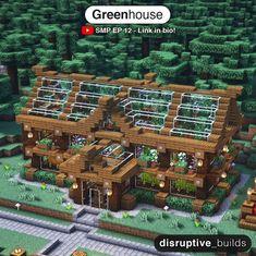 Minecraft Greenhouse, Minecraft House Plans, Minecraft Farm, Minecraft Mansion, Minecraft Cottage, Easy Minecraft Houses, Minecraft House Designs, Minecraft Decorations, Minecraft Construction