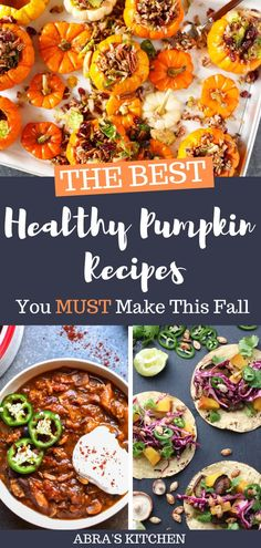Delicious healthy pumpkin recipes to make this fall, including savory, sweet, snacks and breakfast! Paleo Pumpkin Recipes, Healthy Pumpkin, Real Food Recipes, Healthy Recipes, Healthy Food, Real Food Cafe, Perfect Grilled Chicken, Fall Dishes, Savoury Dishes
