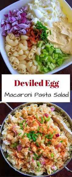 Deviled egg pasta salad with macaroni noodles. Light on the mayo and big on flavor, this dish is a hit at cookouts or summer gatherings! Great way to use leftover hard boiled eggs.
