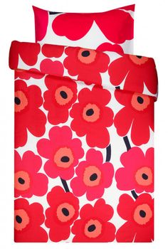 Marimekko Unikko rot weiß Bettwäsche 80x80cm/135x200 cm