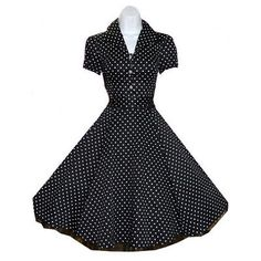 BLACK POLKA DOT 40s 50's VINTAGE STYLE SWING ROCKABILLY RETRO PINUP DRESS - 6839 in Clothing, Shoes & Accessories, Women's Clothing, Dresses | eBay