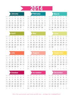 Printable -- 2014 Calendar