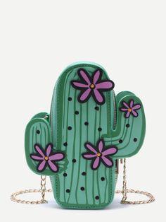 Bolso en forma de cacto con cadena - verde