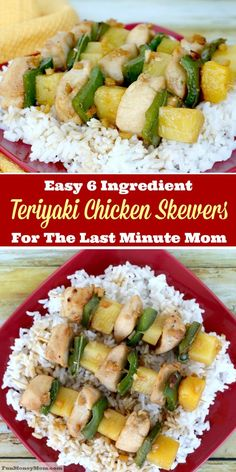 Don't have time to spend hours making dinner? These Teriyaki Chicken Skewers are quick, easy, and best of all, absolutely delicious! @minutericeUS @DoleSunshine @kikkomanusa @publix #StirUpTheFun #ad