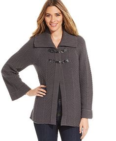JM Collection Petite Cable-Knit Clasped Cardigan