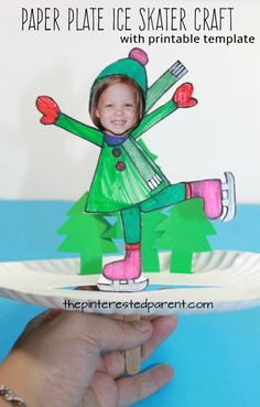 Interactive paper plate ice skater craft with boy and girl printable templates - ice skating - winter and Christmas arts and crafts for kids