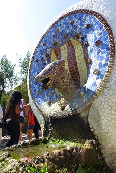 Park Güell (Barcelona) and the beautiful colored tiles, Antoni Gaudi, Barcelona