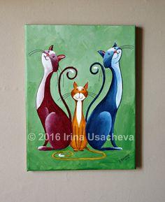 Peinture acrylique originale fantaisie chat à vendre «Fantasy famille de chats»