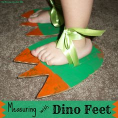 ]Measuring with Dino Feet. So cute! {Hey Mommy, Chocolate Milk}