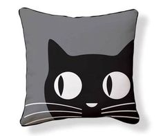 Naked Decor Big Eyes Cat Reversible Cotton Throw Pillow
