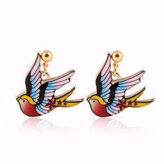 Fashion 3D Swallow Dangle Earrings for Women Vintage Animal Bird Party Earrings Gift for Girls OEH086