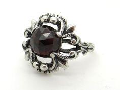 Red Bohemian Garnet & 835 Silver Ring Size 8.75 - Extendable, Big Size Garnet Ring, Biedermeier Victorian, Edwardian Style Vintage Jewellery at VintageArtAndCraft