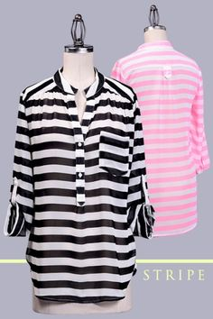 ROLL UP SLEEVE HIGH LOW SEE-THROUGH CHIFFON STRIPE PRINT SHIRT