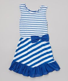 Loving this Royal Blue Stripe Bow Dress - Toddler & Girls on #zulily! #zulilyfinds