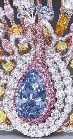 Graff's Peacock brooch  20.02 ct deep blue, pear shape diamond