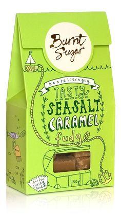 Burnt Sugar, Sea salt caramel fudge #packaging #foodie #fun #illustrations